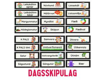 Dagsskipulag / stór spjöld - sjónrænt skipulag