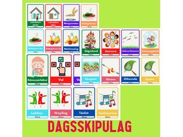 Dagsskipulag - Leifturspjöld / sjónrænt skipulag