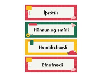 Sjónrænt skipulag - Námsgreinar - stundatafla fyrir eldri nemendur