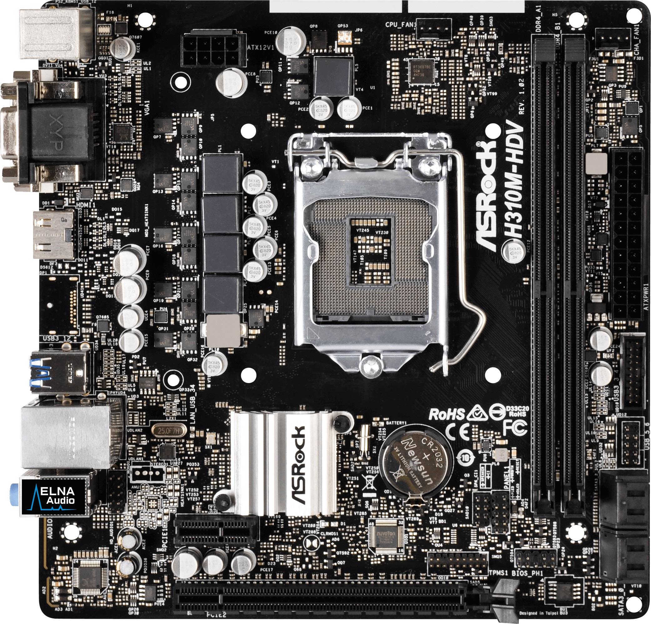 Móðurborð 1151 ASRock H310M-HDV HDMI/DVI mATX - Computer is