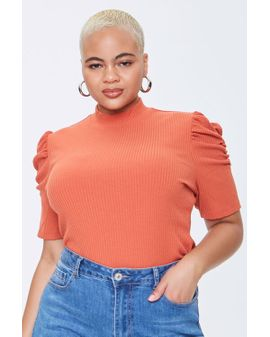 Ribbed & Puff erma toppur - Orange