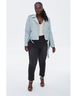 Faux Suede Moto Jacket - Mint