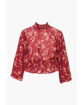 RED - Floral Mock Siffon Toppur