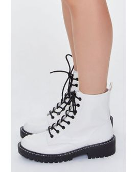 WHITE Docs Boots - WIDE FIT