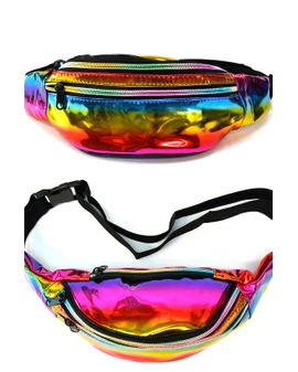 colorful mirror fanny pack