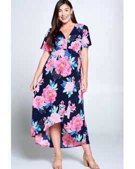 Camilla maxi dress - NAVY / PINK
