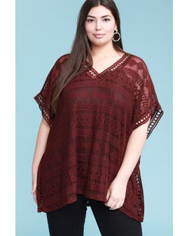 Lace Embroidered  Top - WINE