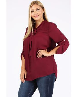 Tie V-neck Siffon blouse - Wine red