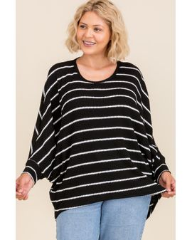 Oversize Batwing stripe top