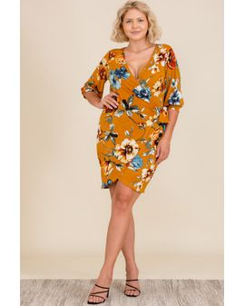 Holiday Wrap dress - Mustard