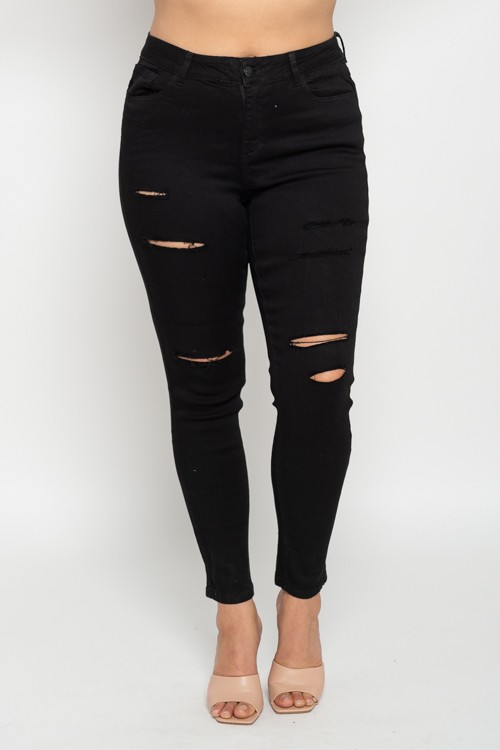 Wax Jeans Distress  - BLACK