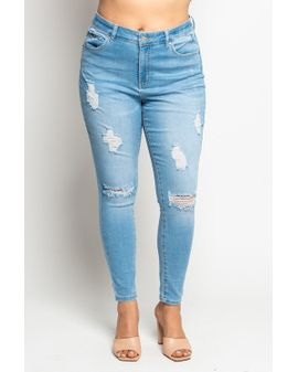 Wax Jeans Distress  - Light blue