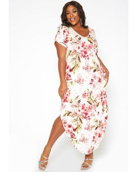 T-shirt Maxi Dress - White Floral