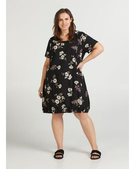 ZIZZI Easy dress - Black Floral
