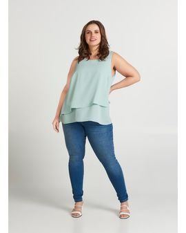 ZIZZI Mina Siffon top - Mint grey
