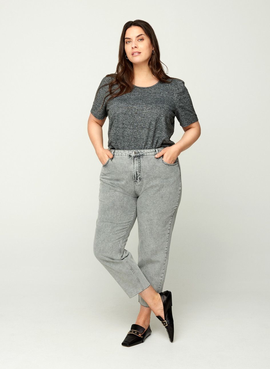 ZIZZI Mom Jeans - ACID Grey