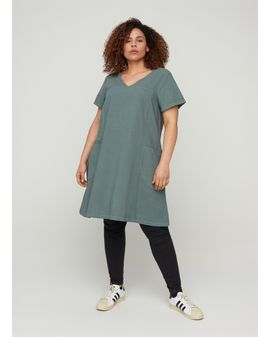 ZIZZI Easy A-shape Kjóll - Pine Green