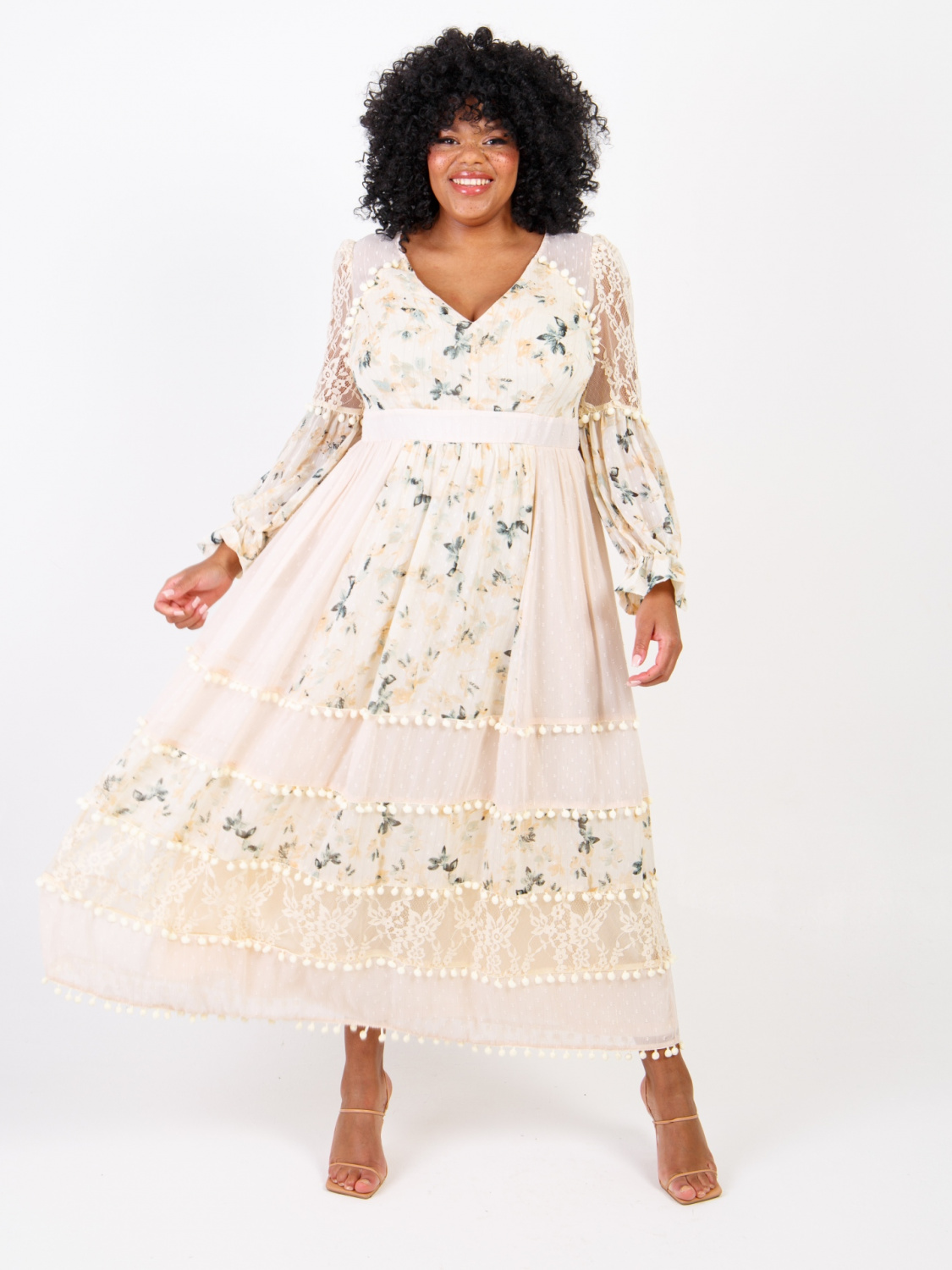 Lovedrobe LUX Cream floral dress