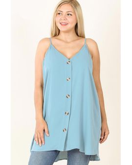 BUTTON UP LONG CAMI - Blue