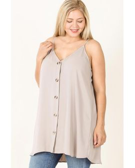 BUTTON UP LONG CAMI - light Mocha