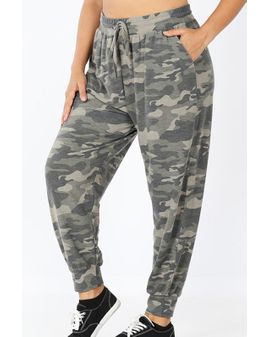 Camo Terry Joggers - Dusty Green