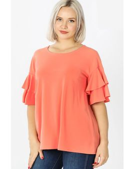 Zenana basic Frill top - CORAL