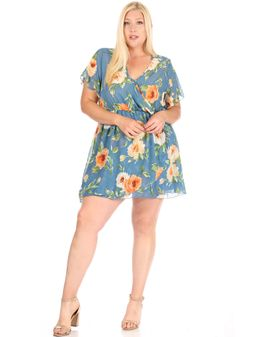 Selma Dress - Blue/peach flora