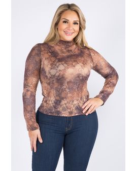 glittery lace toppur - BROWN