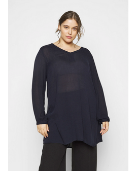 Kaffe Curve AMI V-neck Túnika - Midnight Blue