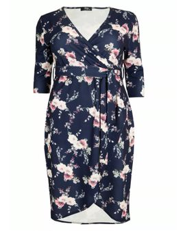Sonette Dress - NAVY / Pink floral