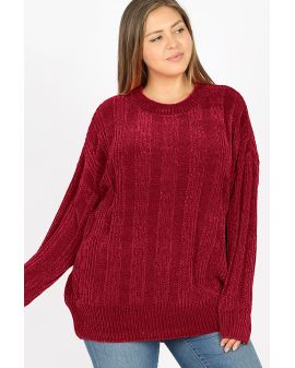 Velvet Cable knit - Wine Red