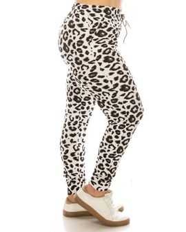 Soft Joggers - White leopard