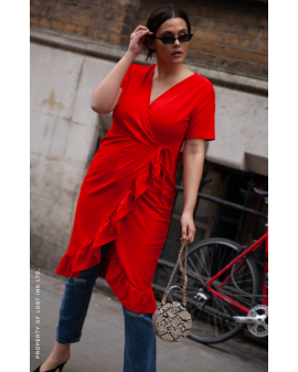 LOST INK RED FRILL DRESS