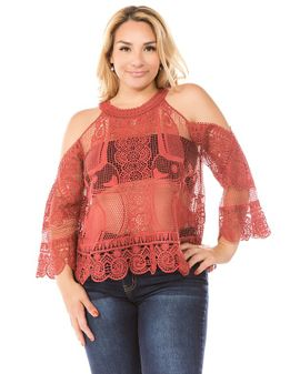 I love the crochet - CORAL Top