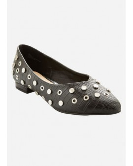 Metallic studded flats - WIDE