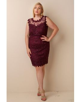 Plum Lace Bodycon Kjóll