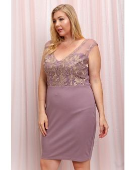 Lilac/Rose Gold Bodycon Kjóll