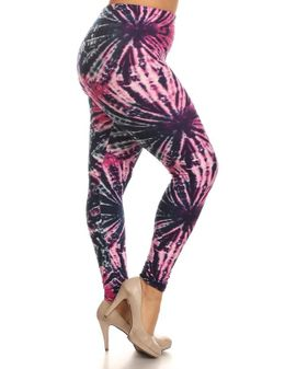 Soft Leggings Bleikar TIE DYE