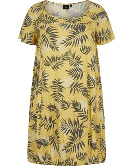 ZIZZI Yellow Palm Dress