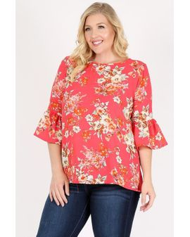 Layla Flora top - Coral