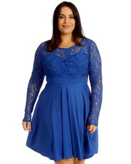 Sparkle lacetop dress - Blár
