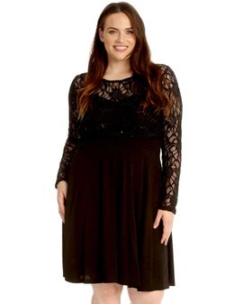 Sparkle lacetop dress - Svartur