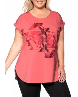 Rainbow Lily print Top - CORAL