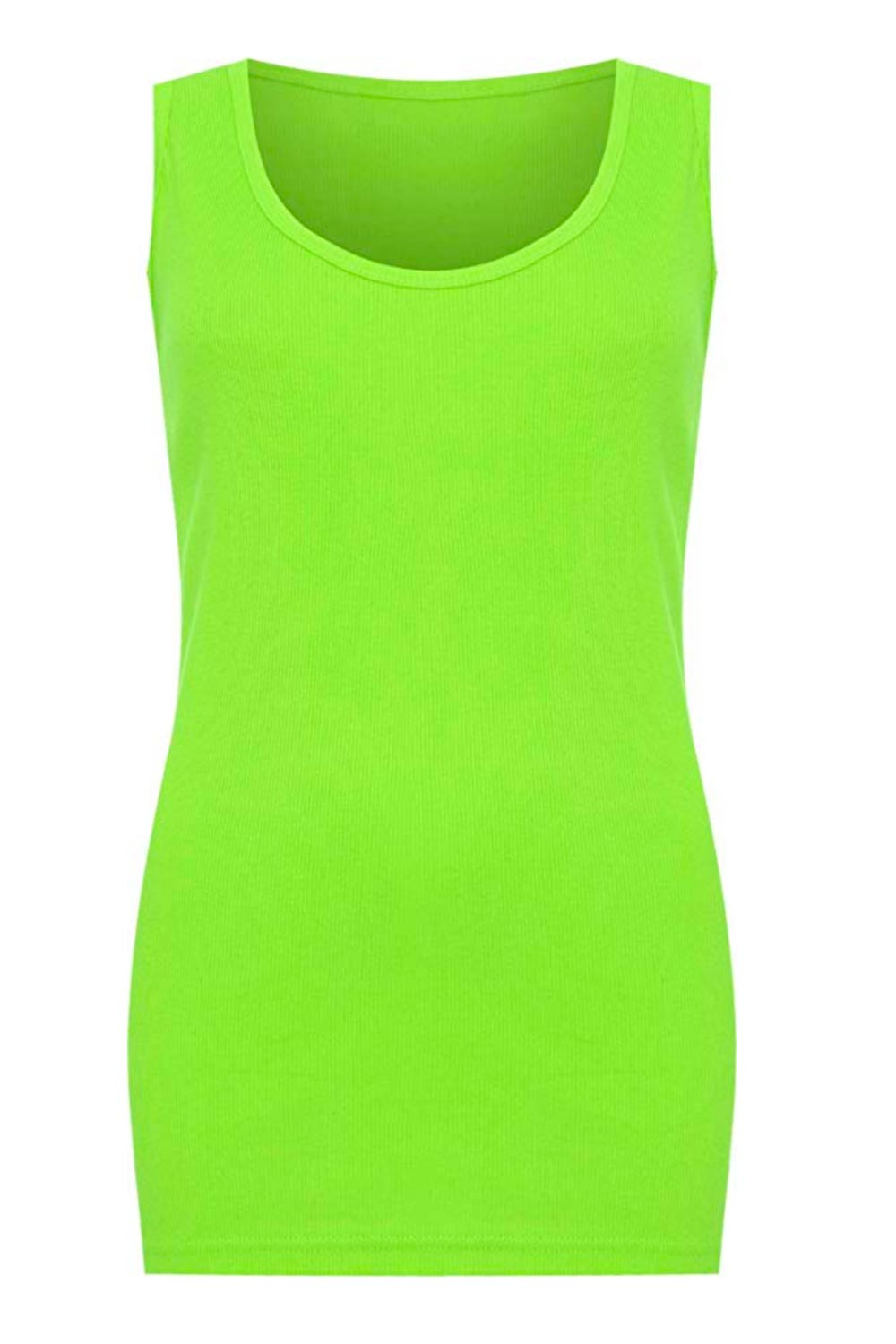 Ribbed Vest Top - NEON GREEN