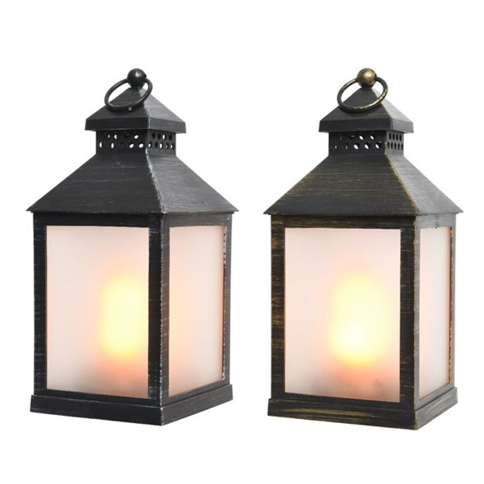 Decoris-LED Lukt Blk 2teg.23cm. Disp-60