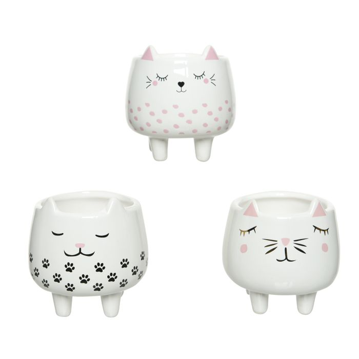Decoris-Pottar CATS 3-teg  10x9cm.(27)