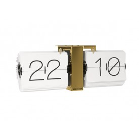 Present Time Flip Clock White Brass