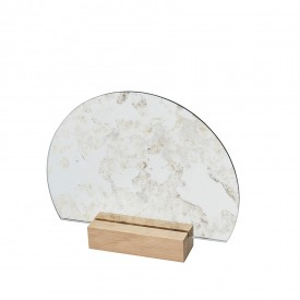 Kristina Dam Half Moon Antique Mirror, Wood Base