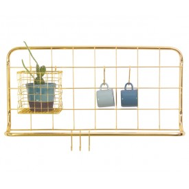 Present Time Kitchen Rack Open Grid Gold
