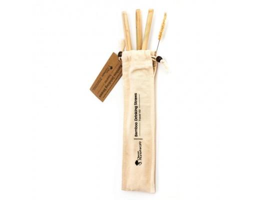 Bambus ferðapakki 3 sogrör+bursti